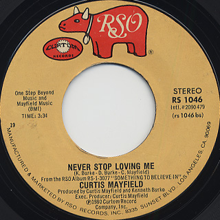 Curtis Mayfield / Tripping Out c/w Never Stop Loving Me back