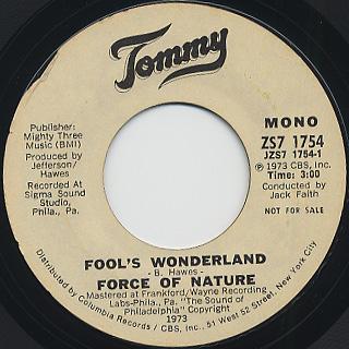 Force Of Nature / Fool's Wonderland back
