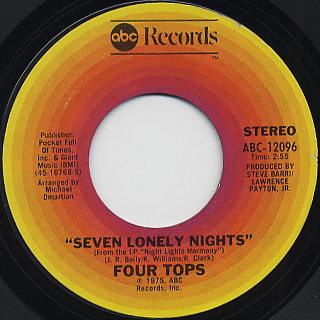 Four Tops / I Can't Hold On Much Longer back