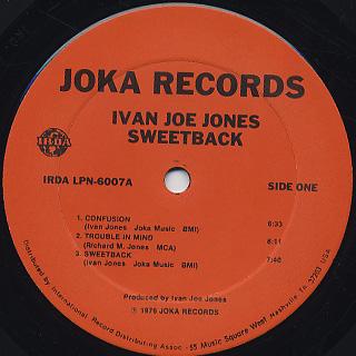 Ivan Boogaloo Joe Jones / Sweetback label