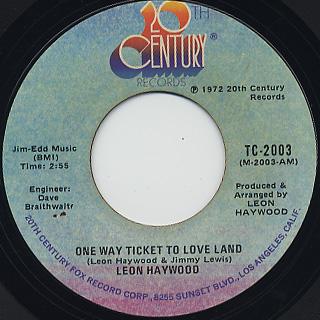 Leon Haywood / One Way Ticket To Love Land