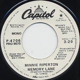 Minnie Riperton / Memory Lane (45) back