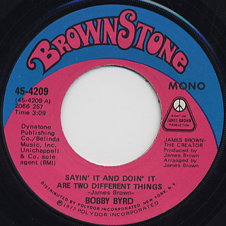 Bobby Byrd / Sayin' It And Doin' It Are Two Different Things front