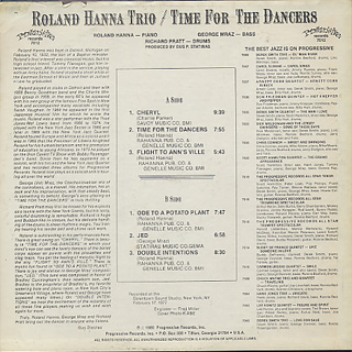 Roland Hanna Trio / Time For The Dancers back
