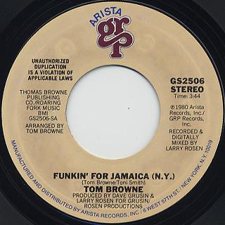 Tom Browne / Funkin' For Jamaica (N.Y.)