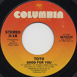 Toto / Africa c/w Good For you back