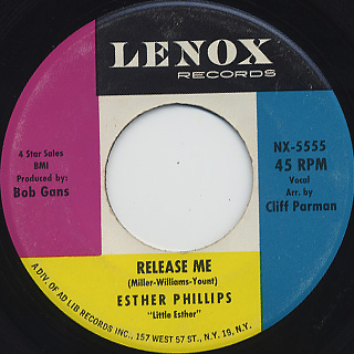 Esther Phillips / Release Me c/w Don't Feel Rained On