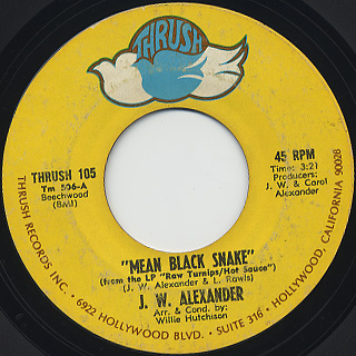 J.W. Alexander / Mean Black Snake c/w Little Red Rooster