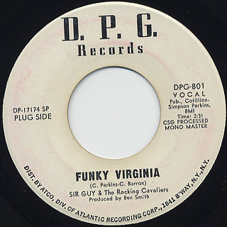 Sir Guy & The Rocking Cavaliers / Funky Virginia c/w My Sweet Baby front