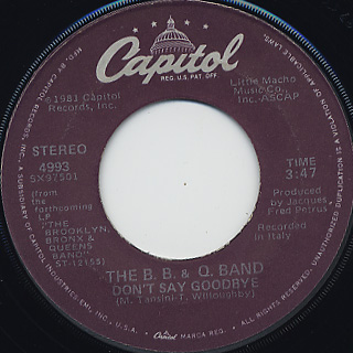 B.B. & Q. Band / On The Beat c/w Don't Say Goodbye back