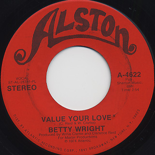 Betty Wright / Value Your Love c/w Secretary back