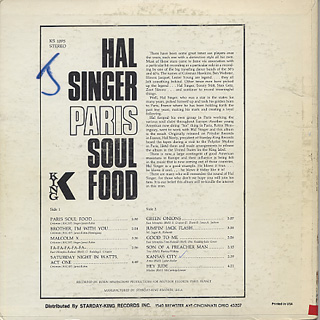 Hal Singer / Paris Soul Food back