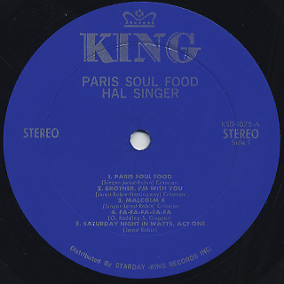 Hal Singer / Paris Soul Food label