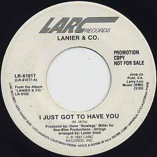 Lanier & Co. / I Just Got To Have You front