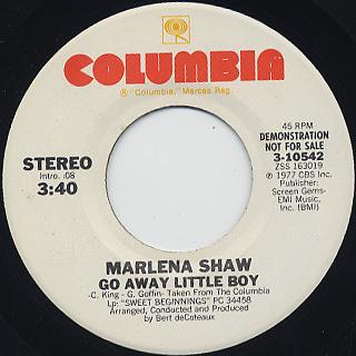 Marlena Shaw / Yu-Ma/Go Away Little Boy c/w Go Away Little Boy back