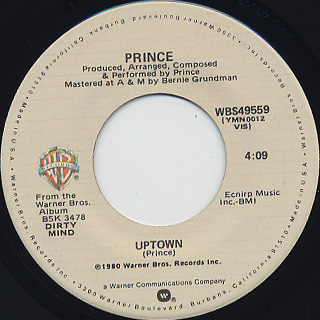 Prince / Crazy You c/w Uptown back