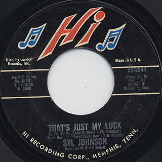 Syl Johnson / Star Bright Star Lite c/w That's Just My Luck back