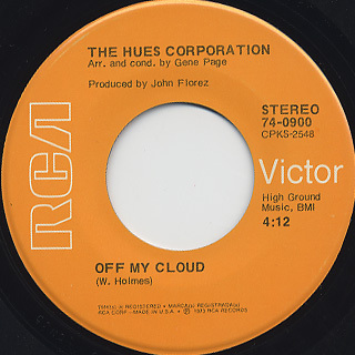 Hues Corporation / Freedom For The Stallion c/w Off My Cloud back