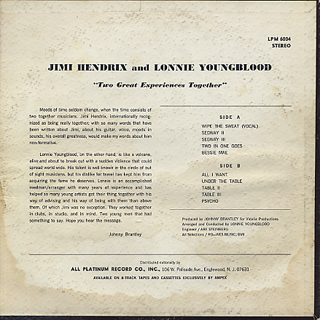 Jimi Hendrix and Lonnie Youngblood / Two Great Experience Together back
