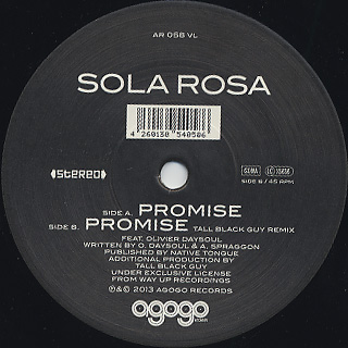 Sola Rosa feat Olivier Daysoul / Promise back