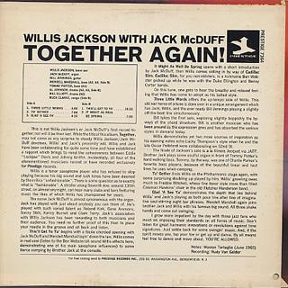 Willis Jackson With Jack McDuff / Together Again! back