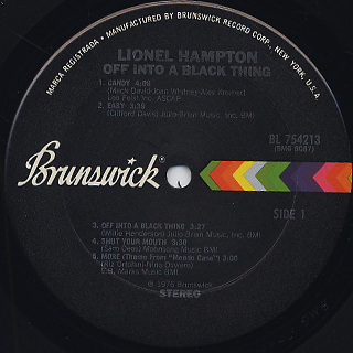 Lionel Hampton / Off Into A Black Thing label