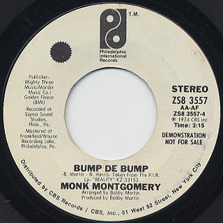 Monk Montgomery / Reality c/w Bump De Bump back