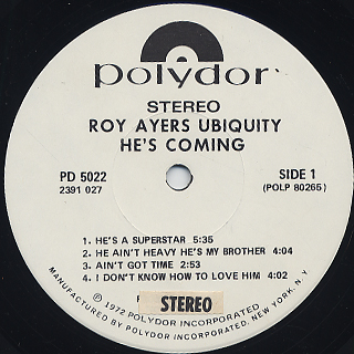 Roy Ayers Ubiquity / He's Coming (Promo) label