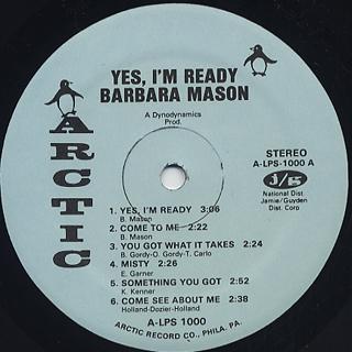 Barbara Mason / Yes, I'm Ready label