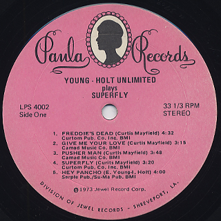 Young Holt Unlimited Plays Super Fly Lp Paula 中古