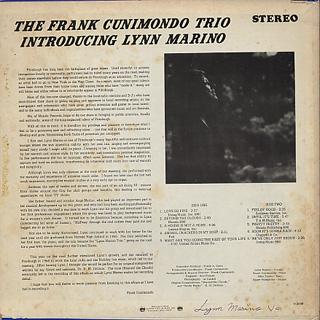 Frank Cunimondo Trio / Introducing Lynn Marino back