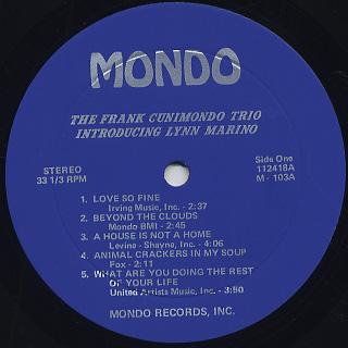 Frank Cunimondo Trio / Introducing Lynn Marino label
