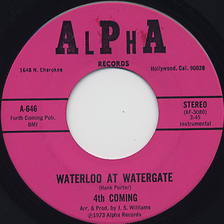 Hank Porter & 4th Coming / Waterloo At Watergate back