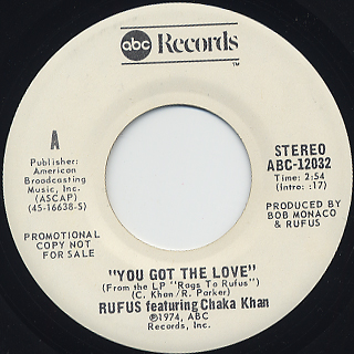 Rufus featuring Chaka Khan / You Got The Love c/w (Mono) back