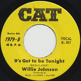 Willie Johnson / Between The Lines c/w It's Got To Be Tonight back