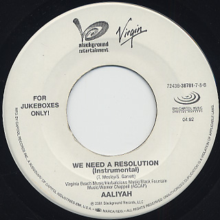 Aaliyah / We Need A Resolution c/w (Instrumental) back