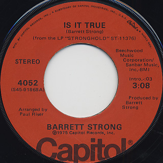 Barrett Strong / Is It True c/w Anywhere