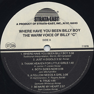Billy C / Where Have You Been Billy Boy label