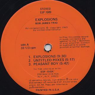 Bob James Trio / Explosions label