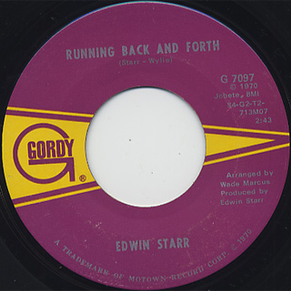 Edwin Star / Time c/w Running Back And Forth back