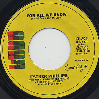 Esther Phillips / Fever c/w For All We Know back