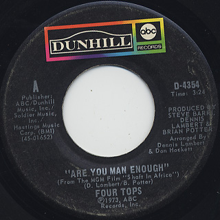 Four Tops / Are You Man Enough c/w Peace Of Mind