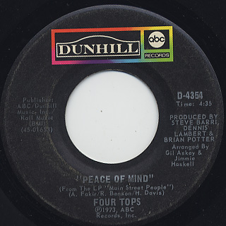 Four Tops / Are You Man Enough c/w Peace Of Mind back