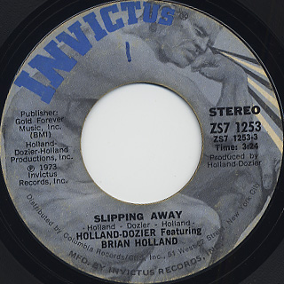 Holland-Dozier Featuring Brian Holland / Slipping Away c/w Can't Get Enough