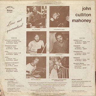 John Culliton Mahoney / Love Not Guaranteed back