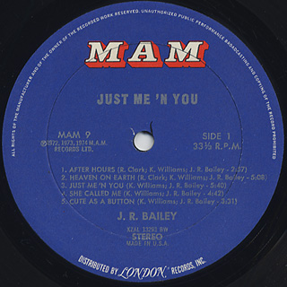 J.R. Bailey / Just Me 'N You label