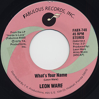 Leon Ware / What's Your Name c/w Club Sashay