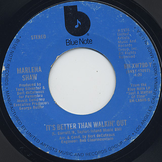 Marlena Shaw / It's Better Than Walkin' Out