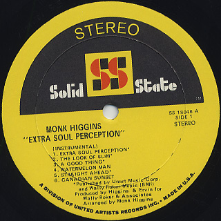 Monk Higgins / Extra Soul Perception label