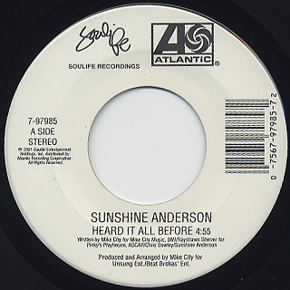 Sunshine Anderson / Heard It All Before c/w Lunch Or Dinner